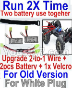 Hosim 9130 Parts-Upgrade 2-to-1 wire and Velcro & 2pcs 800mah Battery-Two battery can use together,Run 2x Time than usual