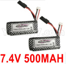 Hosim 9136 Parts-7.4V 500MAH Battery(2pcs)-DJ02