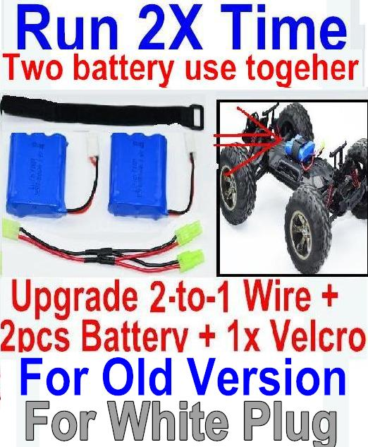 (For Old version Battery)JYRC XinleHong Toys 9116 S912 RC Car Parts-60-02 Upgrade 2-to-1 wire and Velcro & 2pcs Battery-Two battery can use together,Run 2x Time than usual