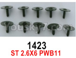 Wl-Model Wltoys 16800 Parts 1423 Screws. ST 2.6x6PWB11. Total 10pcs. Round head Self-tapping screws with Media Cap.
