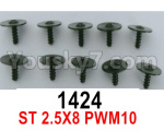 Wl-Model Wltoys 16800 Parts 1424 Screws. ST 2.5x8PWM10. Total 10pcs. Round head Self-tapping screws with Media Cap.