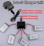 JJRC H36 Spare Parts-17 Upgrade 1-to-5 charger and balance charger & USB-TO-socket Conversion plug(Not include the 5 battery)