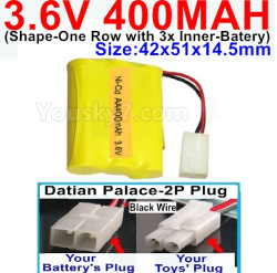 3.6V NI-CD NI-MH 400MAH Battery-With Datian Palace-2P Plug(The D-Shape hole is Black wire)-(Shape-M-Shape,One Row with 3 Inner-Battery)-Size-42x51x14.5mm