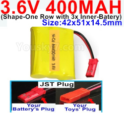 3.6V NI-CD NI-MH 400MAH Battery-With JST Plug-(Shape-M-Shape,One Row with 3 Inner-Battery)-Size-42x51x14.5mm
