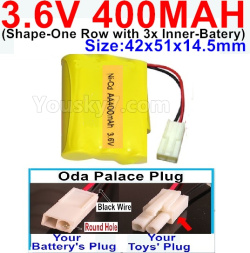 3.6V NI-CD NI-MH 400MAH Battery-With Oda Palace Plug(Round hole-Black Wire)-(Shape-M-Shape,One Row with 3 Inner-Battery)-Size-42x51x14.5mm