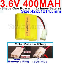 3.6V NI-CD NI-MH 400MAH Battery-With Oda Palace Plug(Round hole-Red Wire)-(Shape-M-Shape,One Row with 3 Inner-Battery)-Size-42x51x14.5mm