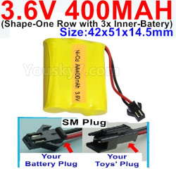 3.6V NI-CD NI-MH 400MAH Battery-With SM Plug-(Shape-M-Shape,One Row with 3 Inner-Battery)-Size-42x51x14.5mm