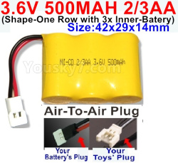3.6V NI-CD NI-MH 500MAH Battery(2-3AA)-With Air-to-Air Plug-(ShapeH-Shape, One Row,left and Right Each with 2 Inner-Battery)-Size-42x29x14mm