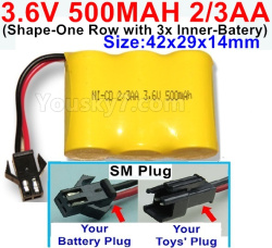 3.6V NI-CD NI-MH 500MAH Battery(2-3AA)-With SM Plug-(Shape-H-Shape, One Row,left and Right Each with 2 Inner-Battery)-Size-42x29x14mm