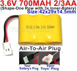 3.6V NI-CD NI-MH 700MAH Battery(2-3AA)-With Air-to-Air Plug-(ShapeH-Shape, One Row,left and Right Each with 2 Inner-Battery)-Size-42x29x14mm
