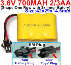 3.6V NI-CD NI-MH 700MAH Battery(2-3AA)-With SM Plug-(Shape-H-Shape, One Row,left and Right Each with 2 Inner-Battery)-Size-42x29x14mm