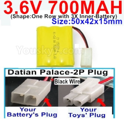 3.6V NI-CD NI-MH 700MAH Battery-With Datian Palace-2P Plug(The D-Shape hole is Black wire)-(Shape-One Row with 3X Inner-Battery)-Size-50x42x15mm