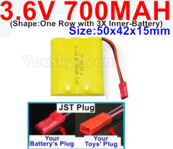 3.6V NI-CD NI-MH 700MAH Battery-With JST Plug-(Shape-One Row with 3X Inner-Battery)-Size-50x42x15mm