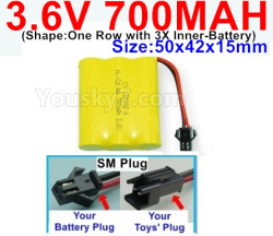 3.6V NI-CD NI-MH 700MAH Battery-With SM Plug-(Shape-One Row with 3X Inner-Battery)-Size-50x42x15mm