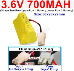 3.6V NI-CD NI-MH 700MAH Battery-With HuanQi-2P plug(1X Square hole+ 1X D-Shape Hole.The D-Shape Hole is Red Wire)-(Shape-Two Row,Upper Row 1 Battery,Lower Row 2 Battery)-Size-50x28x27mm