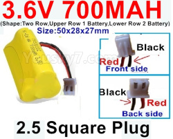 3.6V NI-CD NI-MH 700MAH Battery-With 2.5 Square Plug(Front side-Left Red Wire-Back side-Left Black Wire)-(Shape-Two Row,Upper Row 1 Battery,Lower Row 2 Battery)-Size-50x28x27mm