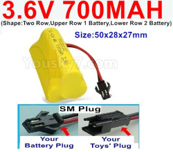 3.6V NI-CD NI-MH 700MAH Battery-With SM Plug-(Shape-Two Row,Upper Row 1 Battery,Lower Row 2 Battery)-Size-50x28x27mm