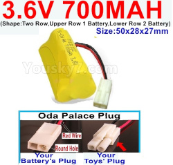 3.6V NI-CD NI-MH 700MAH Battery-With Oda Palace Plug(Round hole-Red Wire)-(Shape-Two Row,Upper Row 1 Battery,Lower Row 2 Battery)-Size-50x28x27mm