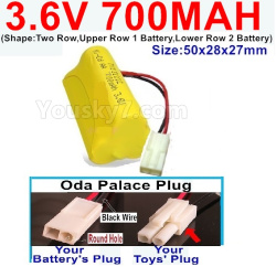 3.6V NI-CD NI-MH 700MAH Battery-With Oda Palace Plug(Round hole-Black Wire)-(Shape-Two Row,Upper Row 1 Battery,Lower Row 2 Battery)-Size-50x28x27mm