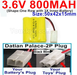 3.6V NI-CD NI-MH 800MAH Battery-With Datian Palace-2P Plug(The D-Shape hole is Black wire)-(Shape-One Row with 3X Inner-Battery)-Size-50x42x15mm