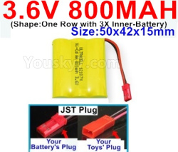 3.6V NI-CD NI-MH 800MAH Battery-With JST Plug-(Shape-One Row with 3X Inner-Battery)-Size-50x42x15mm