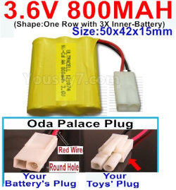 3.6V NI-CD NI-MH 800MAH Battery-With Oda Palace Plug(Round hole-Red Wire)-(Shape-One Row with 3X Inner-Battery)-Size-50x42x15mm