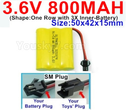 3.6V NI-CD NI-MH 800MAH Battery-With SM Plug-(Shape-One Row with 3X Inner-Battery)-Size-50x42x15mm