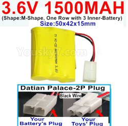 3.6V NI-CD NI-MH 1500MAH Battery-With Datian Palace-2P Plug(The D-Shape hole is Black wire)-(Shape-M-Shape,One Row with 3 Inner-Battery)-Size-50x42x15mm