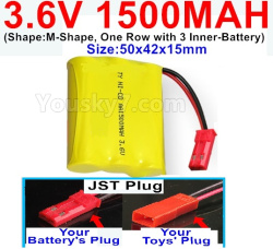 3.6V NI-CD NI-MH 1500MAH Battery-With JST Plug-(Shape-M-Shape,One Row with 3 Inner-Battery)-Size-50x42x15mm