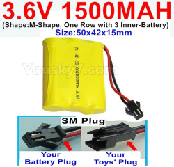 3.6V NI-CD NI-MH 1500MAH Battery-With SM Plug-(Shape-M-Shape,One Row with 3 Inner-Battery)-Size-50x42x15mm