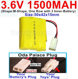 3.6V NI-CD NI-MH 1500MAH Battery-With Oda Palace Plug(Round hole-Black Wire)-(Shape-M-Shape,One Row with 3 Inner-Battery)-Size-50x42x15mm