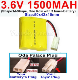 3.6V NI-CD NI-MH 1500MAH Battery-With Oda Palace Plug(Round hole-Red Wire)-(Shape-M-Shape,One Row with 3 Inner-Battery)-Size-50x42x15mm