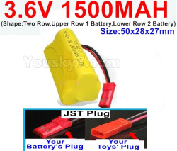 3.6V NI-CD NI-MH 1500MAH Battery-With JST Plug-(Shape-Two Row,Upper Row 1 Battery,Lower Row 2 Battery)-Size-50x28x27mm