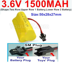 3.6V NI-CD NI-MH 1500MAH Battery-With SM Plug-(Shape-Two Row,Upper Row 1 Battery,Lower Row 2 Battery)-Size-50x28x27mm