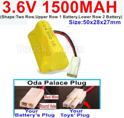 3.6V NI-CD NI-MH 1500MAH Battery-With Oda Palace Plug(Round hole-Red Wire)-(Shape-Two Row,Upper Row 1 Battery,Lower Row 2 Battery)-Size-50x28x27mm