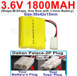 3.6V NI-CD NI-MH 1800MAH Battery-With Datian Palace-2P Plug(The D-Shape hole is Black wire)-(Shape-M-Shape,One Row with 3 Inner-Battery)-Size-50x42x15mm