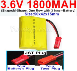 3.6V NI-CD NI-MH 1800MAH Battery-With JST Plug-(Shape-M-Shape,One Row with 3 Inner-Battery)-Size-50x42x15mm