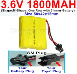 3.6V NI-CD NI-MH 1800MAH Battery-With SM Plug-(Shape-M-Shape,One Row with 3 Inner-Battery)-Size-50x42x15mm