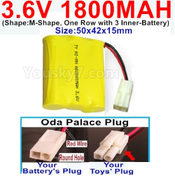 3.6V NI-CD NI-MH 1800MAH Battery-With Oda Palace Plug(Round hole-Red Wire)-(Shape-M-Shape,One Row with 3 Inner-Battery)-Size-50x42x15mm