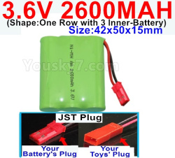 3.6V NI-CD NI-MH 2600MAH Battery-With JST Plug-(Shape-One Row with 3 Inner-Battery)-Size-Size-42x50x15mm