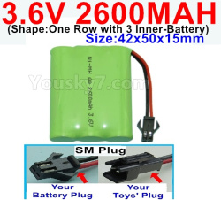 3.6V NI-CD NI-MH 2600MAH Battery-With SM Plug-(Shape-One Row with 3 Inner-Battery)-Size-Size-42x50x15mm