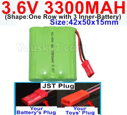 3.6V NI-CD NI-MH 3300MAH Battery-With JST Plug-(Shape-One Row with 3 Inner-Battery)-Size-Size-42x50x15mm
