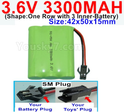 3.6V NI-CD NI-MH 3300MAH Battery-With SM Plug-(Shape-One Row with 3 Inner-Battery)-Size-Size-42x50x15mm