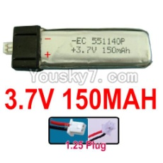 3.7V Battery 02-03 3.7V 150MAH 15C Battery with 1.25 Plug-551140
