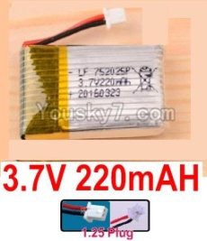 3.7V Battery 05-01 3.7v 220mah 15C Battery with White 1.25 Plug-752025