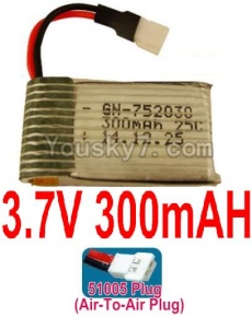 3.7V Battery 08-01 3.7v 300mah 25C Battery with Air-to-air Plug-752030