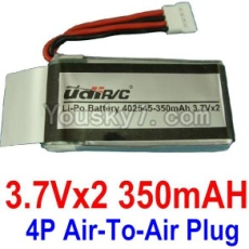 3.7V Battery 09-01 3.7VX2 350mah Battery with 4P Air-to-air Plug-402545