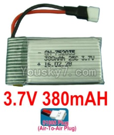 3.7V Battery 10-01 3.7v 380mah 25C Battery with 51005 Air-to-air Plug-752035