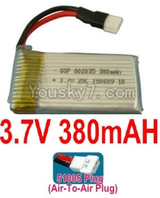 3.7V Battery 10-02 3.7v 380mah 25C Battery with 51005 Air-to-air Plug-602035