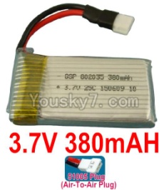 3.7V Battery 10-03 3.7v 380mah 25C Battery with 51005 Air-to-air Plug-802035